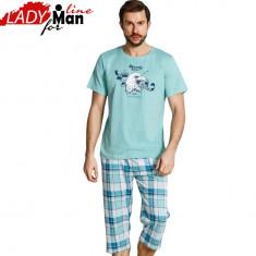 Pijama Barbati Maneca Scurta/Pantalon 3/4, Bumbac 100%, Model Ranger, Cod 1164