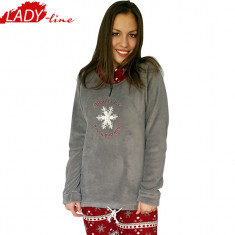 Pijama Dama Calduroasa, Snow Flakes,Milk&Honey, Coral Fleece 200GSM, Cod 1045