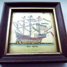 Tablou pictat manual pe foita de aur 22 kt - Pictor strain, Marine, Cerneala, Miniatural