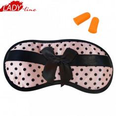 Ochelari de Dormit 'Pin Up Glasses' + Set Dopuri, Culoare Roz cu Buline, Cod 469