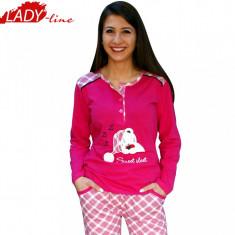 Pijama Dama cu Maneca Scurta si Pantalon Lung, Model Sweet Sleep, Cod 377 - Pijamale dama, Marime: L, XXL, Culoare: Fuchsia