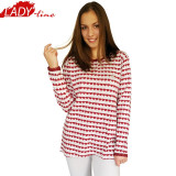 Pijama Dama Iarna, Bumbac Interlock 100%, Model Love In Pink, Cod 1059, L, M, S, Rosu