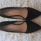 Pantofi stiletto catifea - Pantof dama, Culoare: Negru, Marime: 39, Cu toc