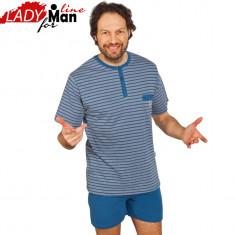 Pijama Barabti Realizata Din Bumbac Obtinut Din Fibre Naturale, Cod 1227 - Pijamale barbati, Marime: M, L, XL, Culoare: Albastru