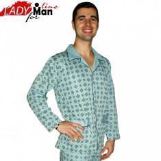 Pijama Barbati Cu Nasturi, Bumbac, Model Clasic Sky, Brand PT Fashion, Cod 315 - Pijamale barbati, Marime: S, Culoare: Albastru