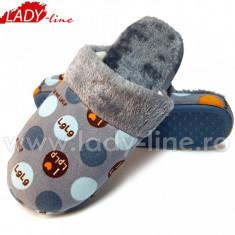 Papuci de Casa, Model I Love Dots, Culoare Gri, Papuci Interior - Papuci dama
