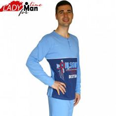 Pijama Barbati Maneca/Pantalon Lung, Bumbac 100%, Model Best Team, Cod 422 - Pijamale barbati, Marime: S, Culoare: Albastru