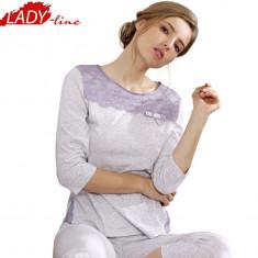 Pijama Dama Calitate Desavarsita, Bumbac 100%, Model Elegant Lace, Cod 1123 - Pijamale dama, Marime: S, M, L, XL, XXL, Culoare: Gri