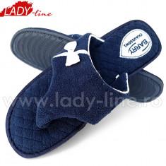 Papuci de Casa Plusati la Interior si Exterior, Model Summer Blue, Culoare Albastru, Brand Barry Chaussons, Papuci Interior Calitate Superioara... - Papuci dama