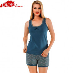 Pijama Dama cu Maieu si Pantalon Scurt, Model Blue Lagoon, COd 1184 - Pijamale dama, Marime: M, L, XL, XXL, Culoare: Albastru
