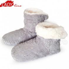 Papuci de Casa Caldurosi Tip Cizmulite 'Gray Sky Flakes', Culoare Gri, Papuci Interior (Culori: Gri, Marimi: 35-38) - Papuci dama