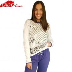 Pijama Dama Iarna, Bumbac Interlock 100%, Model Love Cats, Cod 1055 - Pijamale dama, Marime: S, M, XL, Culoare: Alb