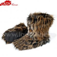 Cizme de Interior Cu Blana, Model Bear Feet, Culoare Maro, Papuci De Casa (Culori: Maro, Marimi: 37-38) - Papuci dama