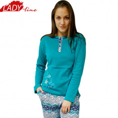 Pijamale Dama Maneca si Pantalon Lung, Model Happy Spring, Cod 1087, Marime: S, XL, Culoare: Turcoaz
