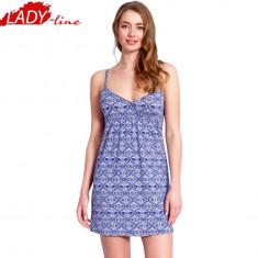 Camasa De Noapte Cu Bretele, Model 'Blue Fantasy', Vienetta Secret, Cod 1312, Marime: S, M, L, XL, Culoare: Albastru