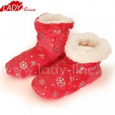 Papuci de Casa Caldurosi Tip Cizmulite 'Red Sky Flakes', Culoare Roz Fucsia, Papuci Interior (Culori: Roz/Fuchsia, Marimi: 35-38)
