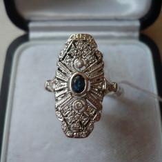 LICHIDEZ COLECTIE- INEL ANTIC CU SAFIR SI DIAMANTE - Inel diamant, Carataj aur: 14k, Culoare: Alb