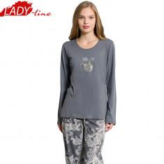 Pijamale Dama cu Maneca si Pantalon Lung, Producator Vienetta, Cod 1038, Marime: L, XL, Culoare: Gri