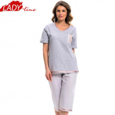 Pijama Dama Maneca Scurta/Pantalon 3/4, Model Touching The Sailor, Cod 1264 - Pijamale dama, Marime: L, XXXL, Culoare: Gri