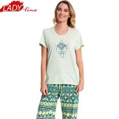 Pijama Dama Vienetta Secret, Model Ethnic Green, Bumbac 100%, Cod 1135 - Pijamale dama, Marime: L, Culoare: Verde