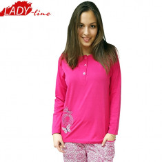 Pijamale Dama Groasa, Model Land Of Butterfly, Bumbac 100%, Cod 1100, Marime: L, Culoare: Fuchsia