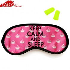 Ochelari de Dormit 'Keep Calm And Sleep' + Set Dopuri, Cod 1113, Fuchsia, Marime universala