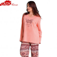 Pijamale Dama Marimi Mari, Bumbac 100%, Model Nina Positive Life, Cod 806, Marime: XXL, Culoare: Roz