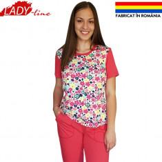 Pijamale Dama cu Maneca Scurta si Pantalon 3/4, Brand Ana Art Textil, Cod 1283, Marime: L, Culoare: Rosu