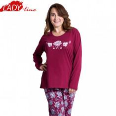 Pijama Dama Marimi Mari, Bumbac 100%, Model Nina Beauty, Cod 698 - Pijamale dama, Marime: XXL, Culoare: Visiniu