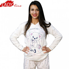Pijama Dama Maneca si Pantalon Lung, Bumbac 100%, Model Cute Bear, Cod 346