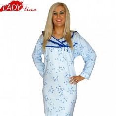 Camasa de Noapte Maneca Lunga, Bumbac 100%, Model Pure Nature, Cod 200, Marime: XL, Culoare: Albastru
