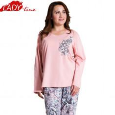 Pijamale Dama Marimi Mari, Bumbac 100%, Model Nina Beauty Of Life, Cod 999, Marime: XL, XXL, Culoare: Roz
