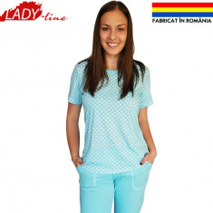 Pijamale Dama Fabricate in Romania, Model Blue World & White Dots, Cod 1284, Marime: S, M, L, XXXL, Culoare: Albastru