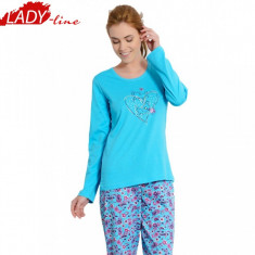 Pijama Dama Maneca / Pantalon Lung, Bumbac 100%, Model You Will Forever, Cod 499