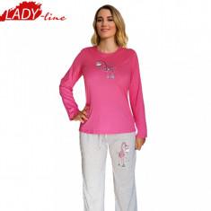Pijama Dama Maneca/Pantalon Lung, Bumbac 100%, Model Best Day Ever, Cod 606 - Pijamale dama, Marime: S, Culoare: Fuchsia