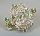 Brosa - pandantiv din aur cu diamante si smaralde