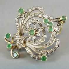 Brosa - pandantiv din aur cu diamante si smaralde - Brosa aur