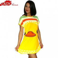 Camasa de Noapte cu Maneca Scurta, Model Puppy Duckling, Cod 209, Marime: S, Culoare: Galben