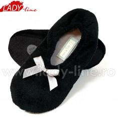 Papuci de Casa Tip Balerini, Model Black Fur, Culoare Negru, Papuci Interior (Culori: Negru, Marimi: 38-39) - Papuci dama