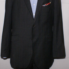 Costum barbati AUSTIN REED marimea 54 L negru cu carouri, 2 nasturi, Lung, Marime talie: 33, Lana