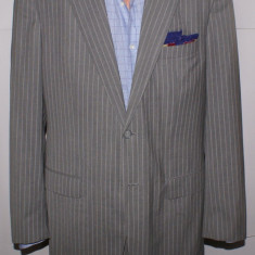 Costum barbati ZANO Napoli cu material LORO PIANA facut la comanda marimea 52 L, Culoare: Gri, 2 nasturi, Normal, Marime talie: 34