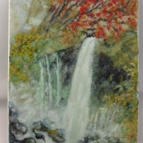 Cascada din padure 1-pictura ulei pe panza;MacedonLuiza - Pictor roman, Natura, Altul