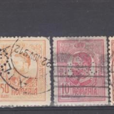 Romania  dupa  1900   6  valori  Perfin, Posta, Nestampilat
