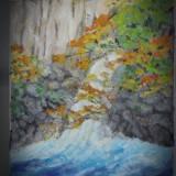Cascada din padure 2-pictura ulei pe panza;MacedonLuiza - Pictor roman, Natura, Altul