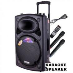 PROMOTIE! BOXA ACTIVA TROLER PE ROTI, MIXER, MP3 USB, BLUETOOTH, 2 MICROFOANE, TELEC. - Echipament karaoke