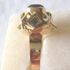 Inel vintage aur 14k piatra amethyst - Inel aur, Culoare: Galben