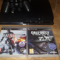 PlayStation 3 Sony PS3 PS 3 slim+2 jocuri sigilate Battlefield 4 Call of Duty – Ghost