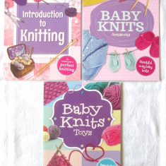 3 carti tricotaje copii : Introduction to Knitting* Baby Knits Accessories* Toys