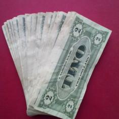 Teanc de bancnote MAXI cu aspect uzat pentru poker - valoarea 2 $