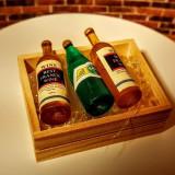Lada din lemn - 3 sticle de vin si cuburi de gheata-miniatura - Jocuri arta si creatie